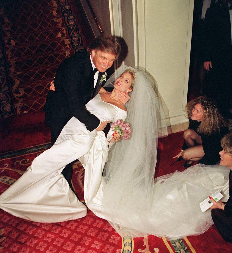 Donald op zijn huwelijk met Marla Maples.