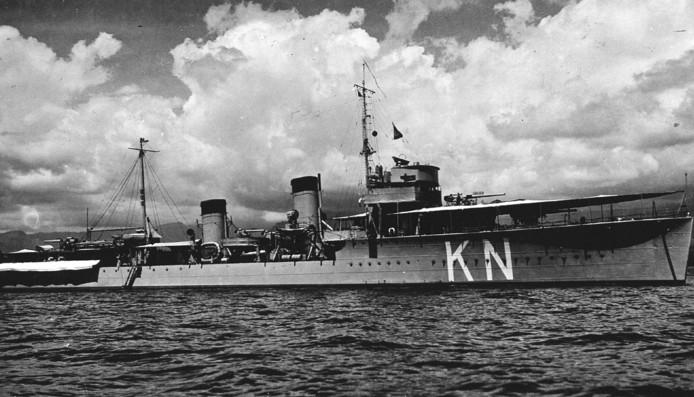 Torpedojager Hr. Ms. Kortenaer, een van de schepen die in de slag in de Javazee ten onder is gegaan.