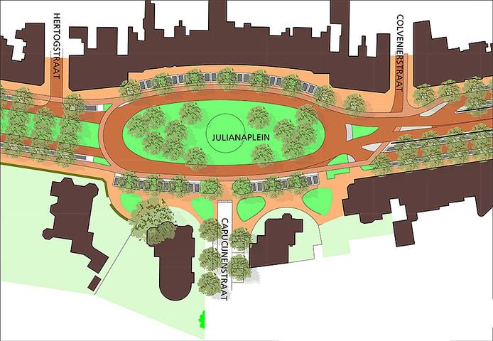 Impressie van het Julianaplein, na de herinrichting.