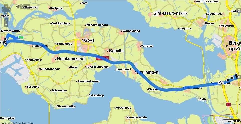 RouteNet komt met hetzelfde advies: over Arnemuiden.