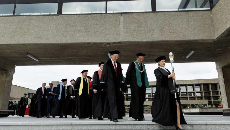 Hoogleraren tijdens de opening van het academisch jaar aan de Erasmus Universiteit in Rotterdam, 2014 Beeld anp