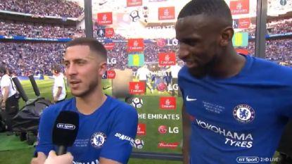 """Speelse Eden Hazard: """"Als Rudiger elke wedstrijd zo speelt, dan blijf ik bij Chelsea"""""""