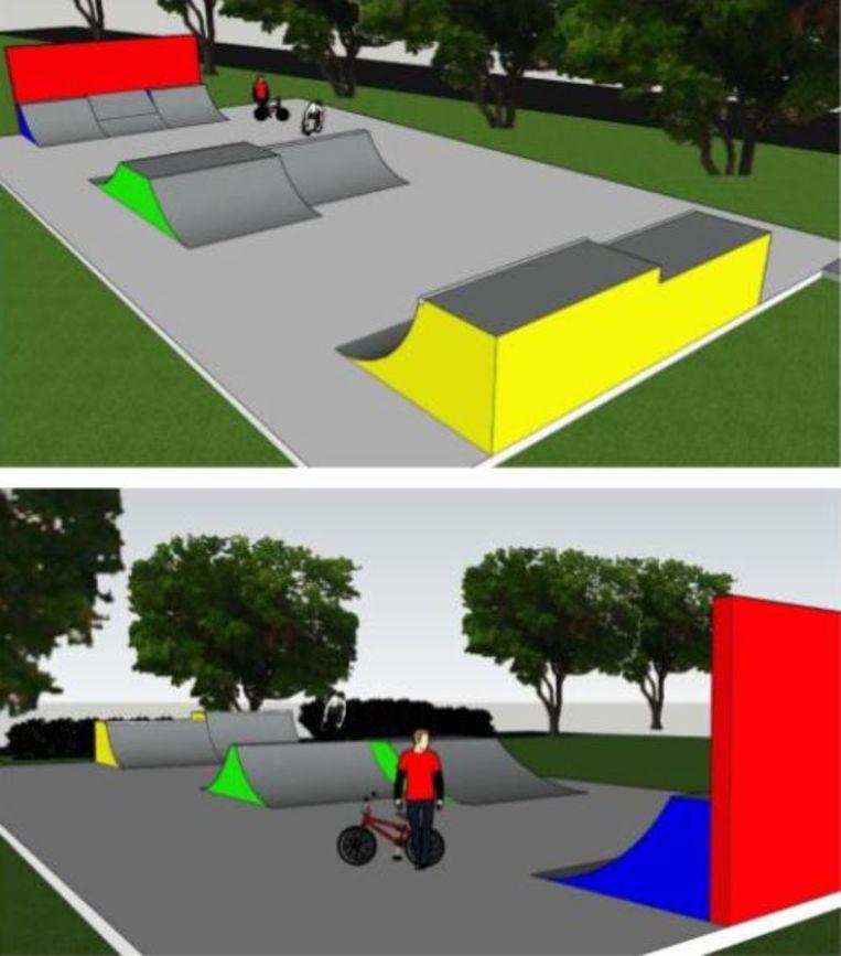 De werken aan het nieuwe skatepark in Kooigem zijn gestart. Zo zal het park eruitzien.