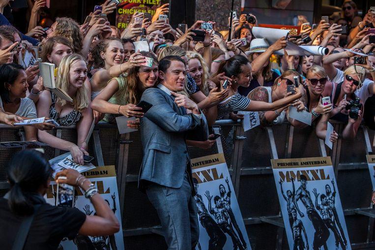 Het is niet voor het eerst dat Tatum een premiere in Amsterdam bijwoont. Beeld Amaury Miller