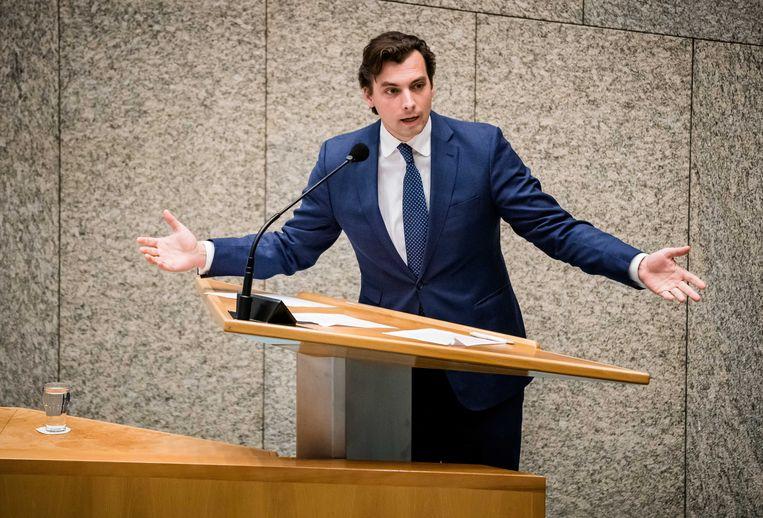Thierry Baudet (FvD) tijdens een debat in de Tweede Kamer. Beeld ANP