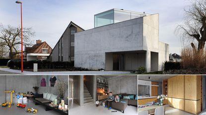 Dit huis met een bizarre vorm bestaat voor bijna 100 procent uit beton