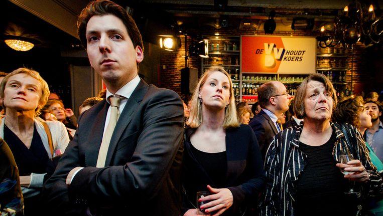 Tweedekamerlid Helma Nepperus (R) tijdens de eerste exit poll op de verkiezingsavond bij de VVD in de Haagse Kluis na de Provinciale Statenverkiezingen. Beeld anp