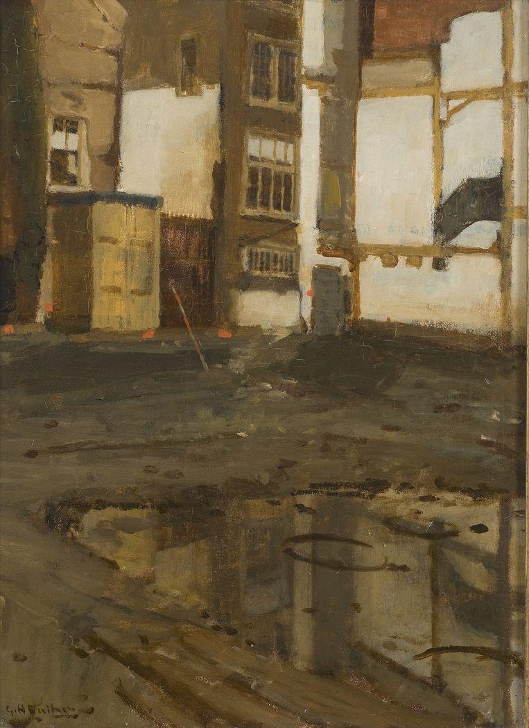 Een bouwput op de Sint Agnietenstraat, 1903. Beeld null