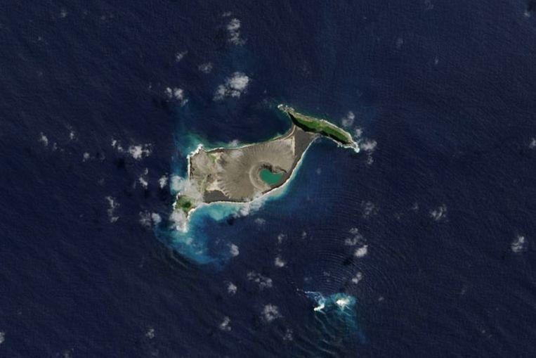 Een satellietbeeld van 'Hunga Tonga'.