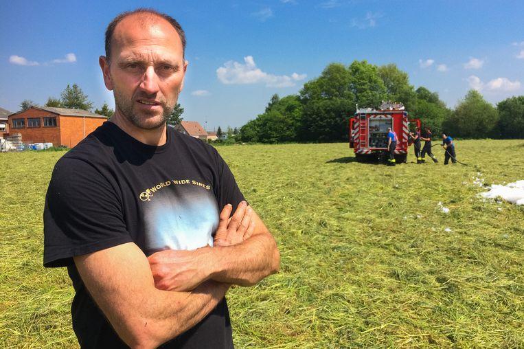 Archiefbeeld: Koen Schoeters. In 2016 brandde zijn tractor volledig uit.