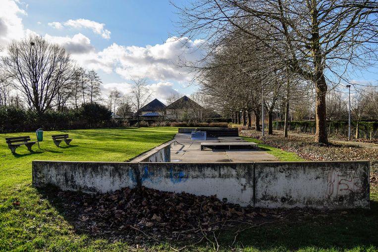 De tienersite in het Hagewijkpark. De stad wil hier een volledig nieuw skatepark bouwen.