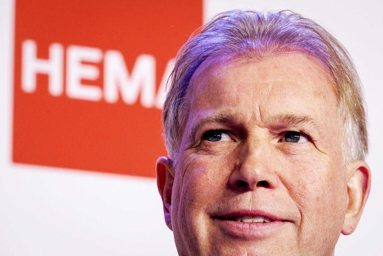 Ondernemer Marcel Boekhoorn tijdens de persconferentie over de overname van Hema. Beeld ANP
