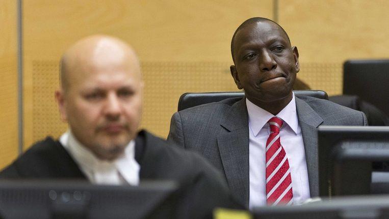 Keniaans vicepresident William Ruto in de rechtszaal van het Internationaal Strafhof in Den Haag. Beeld epa