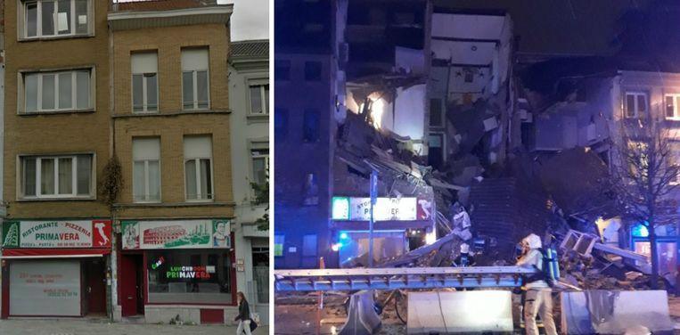 In het ontplofte gebouw bevond zich een pizzeria, die gesloten was op het moment van de explosie.
