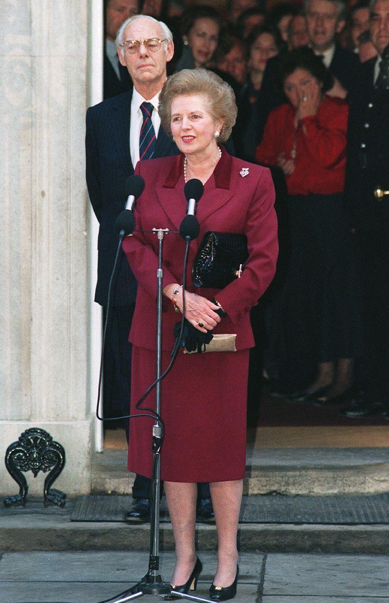 Politieke redevoering: De afscheidsrede van de Britse premier Margaret Thatcher (1925-2013) in het Lagerhuis op 28 november 1990. Beeld AFP