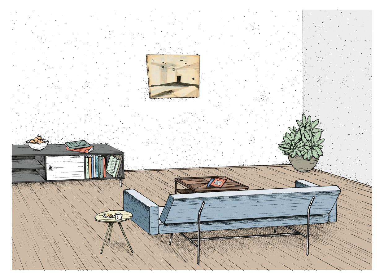 De fictieve woonkamer uit de roman Homers vlucht, met in de illustratie het werk Gaskamer van Luc Tuymans uit de collectie Over Holland.    Beeld Michel Keppel