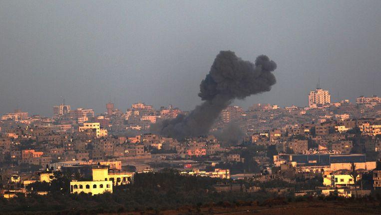 De Gazastrook na de Israëlische luchtactie van gisteren. Beeld epa