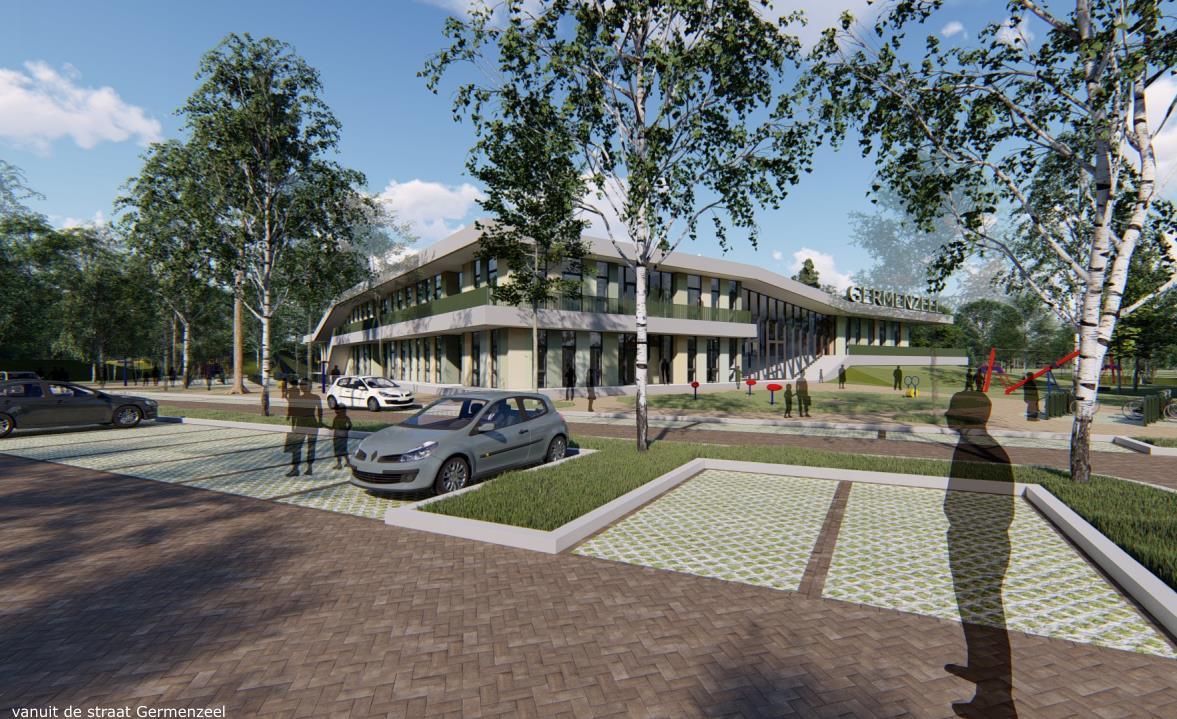 Zo komt het nieuwe ontmoetingsplein Germenzeel er uit te zien.