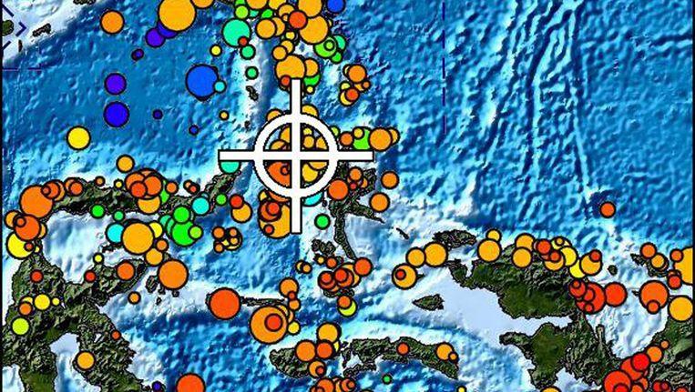 Een kaartje van de Molukse eilanden met het epicentrum van de beving Beeld Pacific Tsunami Warning Center.