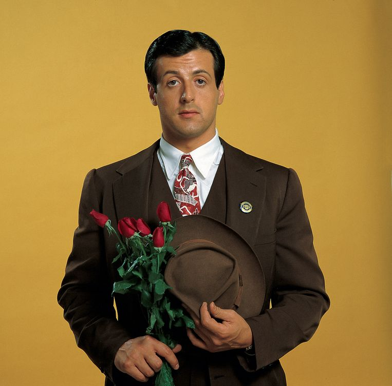 Closeup portrait of actor Sylvester Stallone, as Johnny Kovak, during photo shoot on the movie set of the film 'F.I.S.T.'. Beeld Neil Leifer/Getty Images