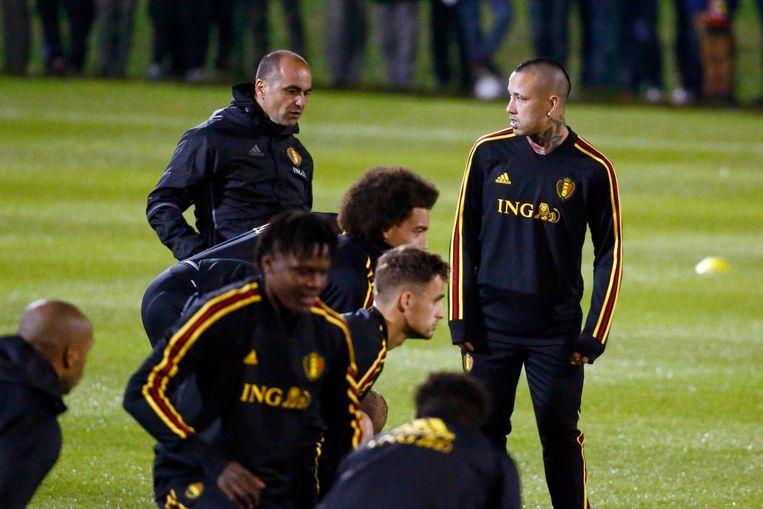 Nainggolan en Martínez vandaag op de training in Tubeke.