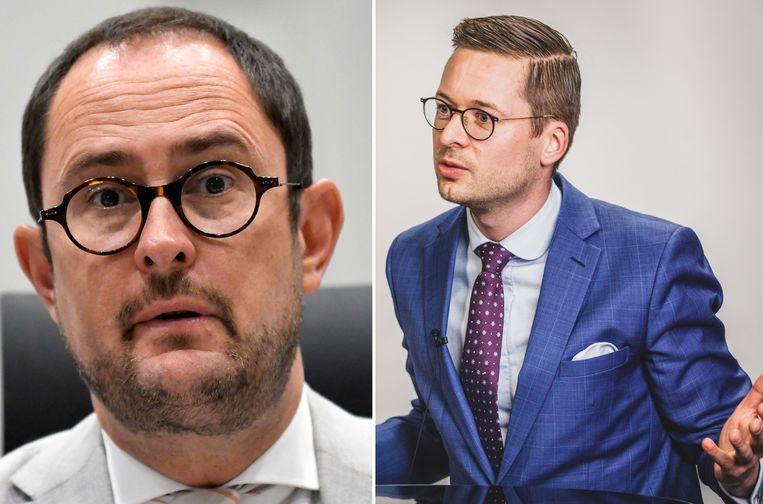 Wouter Vermeersch (rechts) van Vlaams Belang diende de klacht tegen Van Quickenborne vorige week al in