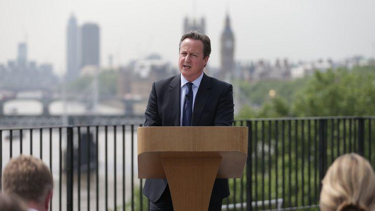De Britse premier David Cameron probeert het publiek aan zijn zijde te krijgen. Beeld afp