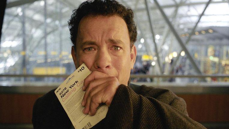 Tom Hanks als Viktor Navorski in The Terminal Beeld .