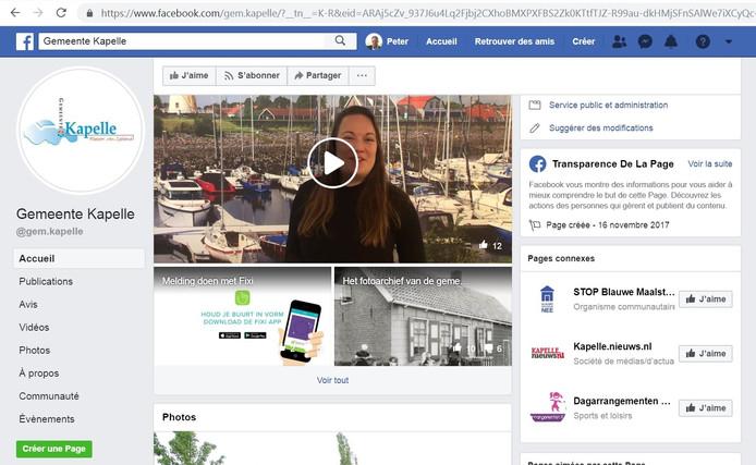 Screenshot van de gewraakte link naar STOP Blauwe Maalstede op de Facebookpagina van de gemeente Kapelle.