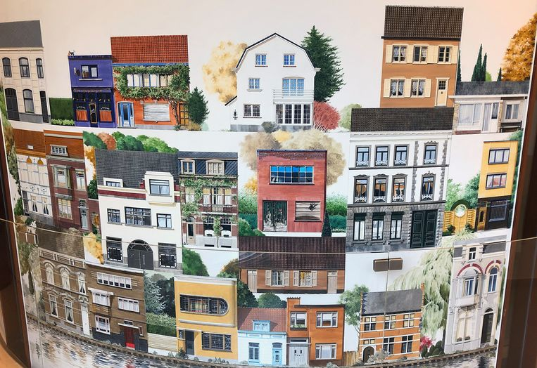 Nog een deel van Huizenwende, met links bovenaan (paars) café De Mengelmoes