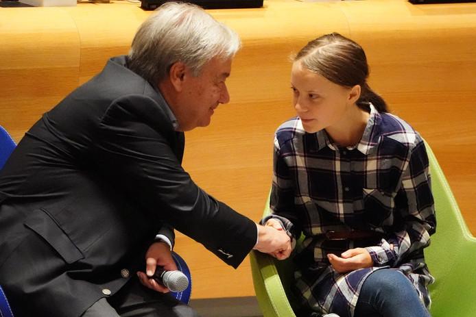 Antonio Guterres et Greta Thunberg, samedi à New York