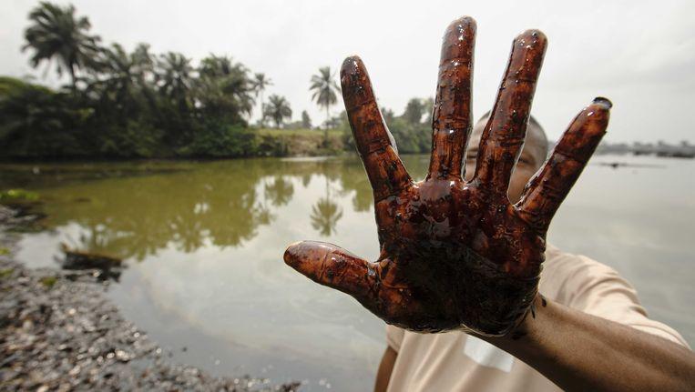 Archieffoto uit 2013 - Olielekkage veroorzaakt door Shell in het Nigeriaanse dorp Bodo.