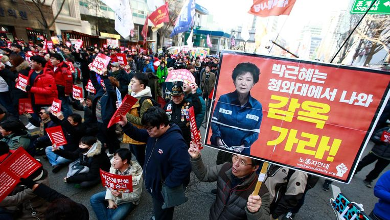 Demonstratie tegen Park Geun-hye in Seoul op 10 maart 2017. Beeld epa