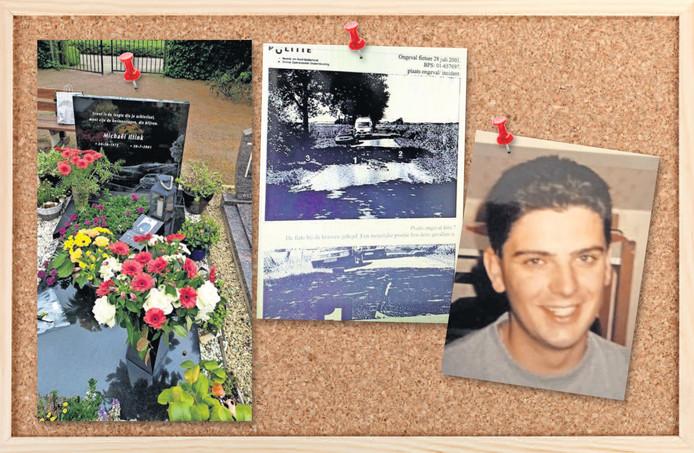 Het graf van Michaël Iltink en een foto van Michaël. In het midden een politiefoto die in 2001 is gemaakt van de Hartjensstraat, waar Michaël naast zijn fiets werd gevonden.De foto is genomen in de richting van Lengel.