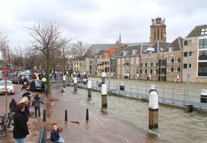 Hoogwater in Dordrecht in 2012.