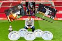 Ibrahim Afellay neemt afscheid van PSV. Inzetjes, vlnr: met Oranje-bondscoach Bert van Marwijk in 2010, met de Champions League als speler van Barcelona en scorend voor Stoke City in 2016.
