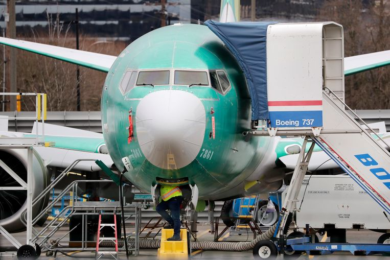 Een Boeing 737 Max-vliegtuig is onder constructie.