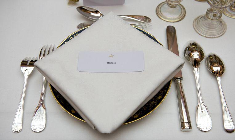 De tafel gedekt voor een koninklijk diner. Beeld ANP