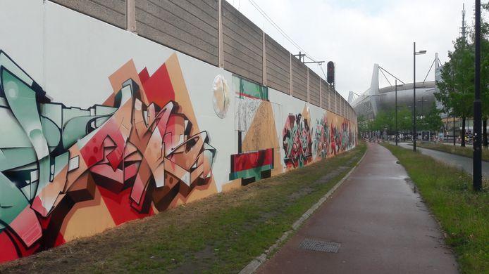 De nieuwe muurcreatie aan de PSV-laan.