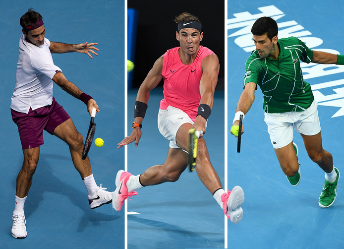 De Grote Drie: Roger Federer (38), Rafael Nadal (33) en Novak Djokovic (32).