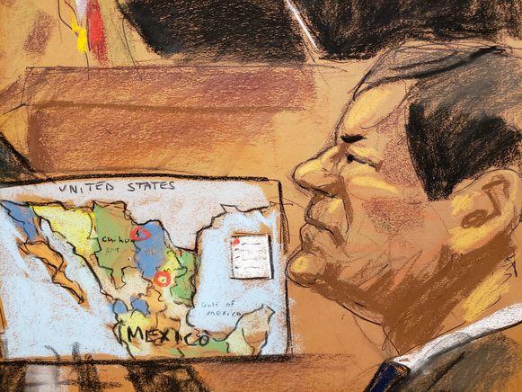 Joaquin 'El Chapo' Guzman in een pentekening van zijn proces.
