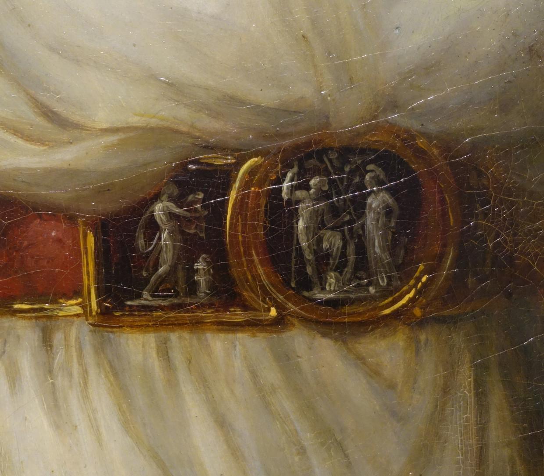 Het detail uit: Angelika Kauffmann, Zelfportret in all'antica kostuum, 1787. Beeld