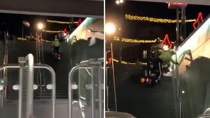 De agent haalde het einde van de trap net niet en viel van zijn motor.
