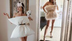 Gekke modetrend gespot op Instagram: bloggers creëren glamoureuze outfits met alleen een kussen en riem