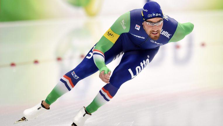 Kjed Nuis tijdens een wereldbekerwedstrijd in Inzell. Beeld epa