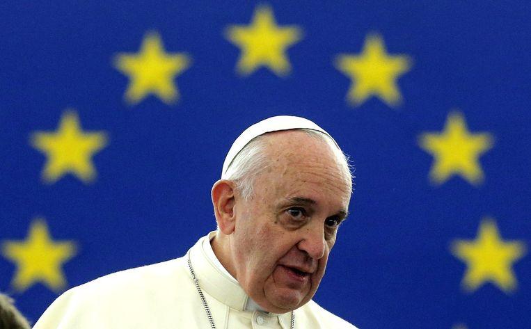De paus in het Europees Parlement in Straatsburg. Beeld afp