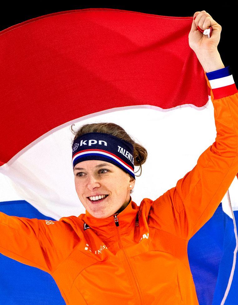 Ireen Wüst is Europees kampioen op de 1.500 meter. Beeld Klaas Jan van der Weij / de Volkskrant