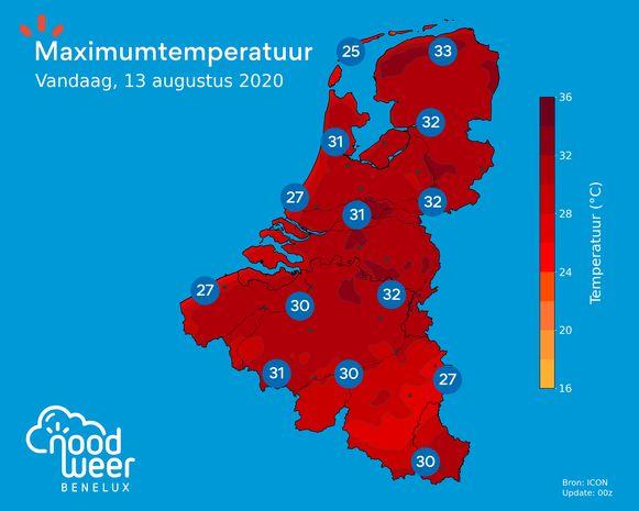Maximumtemperatuur op donderdag 13 augustus  2020.
