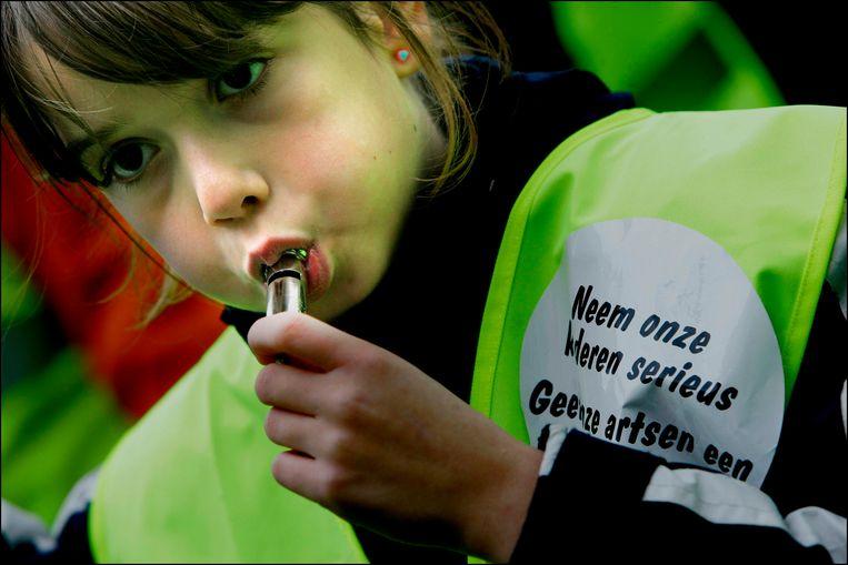 Demonstratie kinderen met ADHD op het Plein in Den Haag (2006).  Beeld ANP
