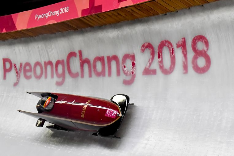 Belgian bobsleigh pilot Elfje Willemsen and Belgian athlete Sara Aerts pictured in action during the first run at the women's bobsleigh competition at the XXIII Olympic Winter Games, Tuesday 20 February 2018, in Pyeongchang, South Korea. The Winter Olympics are taking place from 9 February to 25 February in Pyeongchang County, South Korea. BELGA PHOTO DIRK WAEM